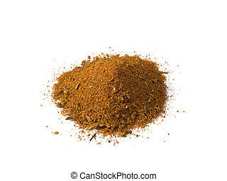 Cajun Seasoning Pile Isolated - A close up on a pile of...