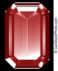3d Ruby - A render of a 3d ruby isolated on a black...