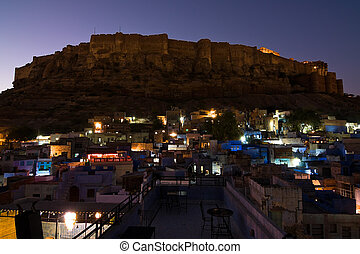 Meherangarh fort at night - Night view of Meherangarh fort -...