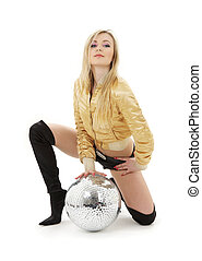 golden jacket girl with disco ball - party dancer girl in...