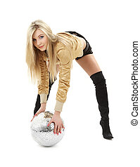 golden jacket girl with disco ball #2