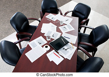 Empty room - Image of large table and six black chairs in...