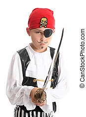 Young pirate ready for fight - Boy pirate wearing patch and...