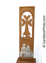 Cross - Armenian cross with mountain Ararat and church