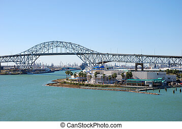 Bridge in Corpus Christi - View over the Texas State...