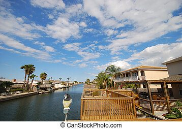 Houses waterside, Padre Island, Texas