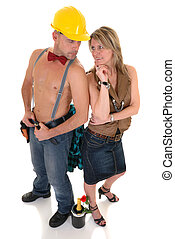 construction worker, woman - Handsome pre middle aged...