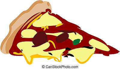 Pizza illustration - Slice of pizza fast food, hand drawn...