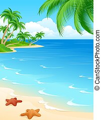 Beach scene background with starfish and palms