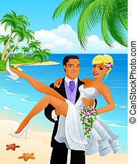 Just married couple on tropical beach