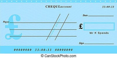 pound cheque - a generic cheque in great british pounds