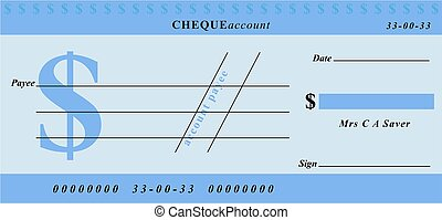 dollar cheque - generic blue cheque design in dollar...