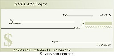 dollar cheque - a generic cheque design in dollar currency