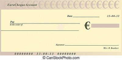 euro cheque - a generic cheque design in euro currency