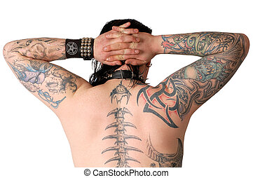 tatoo - back of a man covered with lot of tatoos