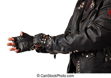 black metall - man\\\'s torso dreesed in black leather with...