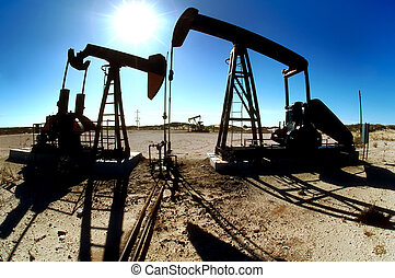 Oilfield Pumping Jacks - Image of pumping jacks in...