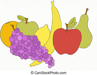 delicious fruit - close up of still life group of variety of...