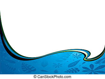 cobalt wave - Nature inspired water filled banner with room...