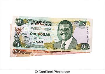Bahamas dollars - Bahamas 5 and 1 dollar bill isolated on...