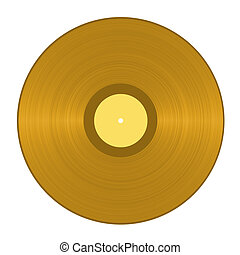 Golden Vinyl Record - Golden vinyl record isolated in white