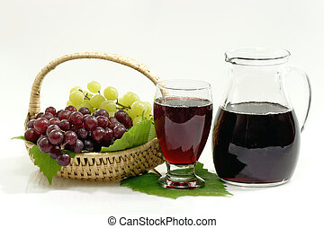 Red Grape Juice with a Jug on bright Background