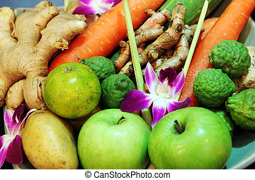 Fruits and vegetables - Selection of fruits and vegetables...