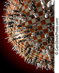 Critical Position - Chess pieces on a globe. Critical...