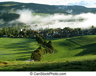 swiss village in morning - Motiers, Switzerland