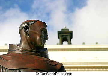 Junipero Serra statue in front of the city hall in Ventura...