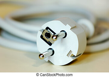 European safety plug - Close-up shot of a european plug...