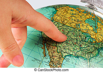 United States on the globe - Image shows an old terrestrial...