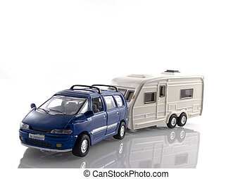 Car with caravan - blue private car is drag a caravan