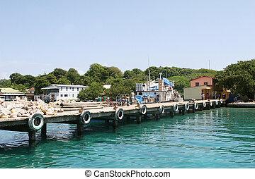 bahía, isla, diques