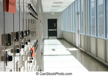 lockers in hallway - close-up shot of lockers in a row in...
