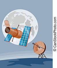 Satellite sending signal - Illustration on satellite...