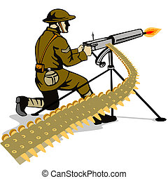 Soldier firing a gun - Illustration on the military