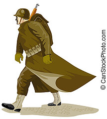 Soldier marching - Illustration on the military