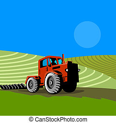 Tractor in the fields - Illustration on farming