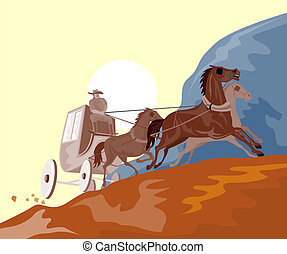 Stagecoach traveling in - Illustration on travel
