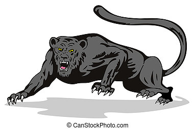 Panther on the prowl - Illustration on wildlife