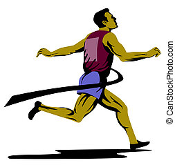 Sprinter winning finish - Illustration on track and field...
