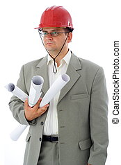 Construction engineer with rolls of projects and red...