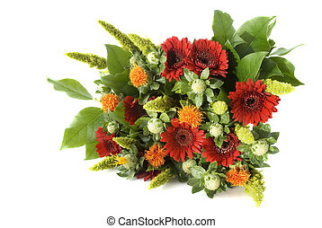 bunch of flowers with red Gerber