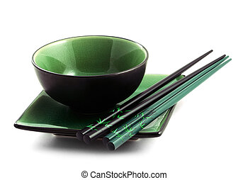Japanese utensils - The Japanese utensils for a sushi on a...