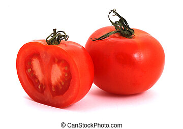Tomatos - Tomato and half of tomato on a white background