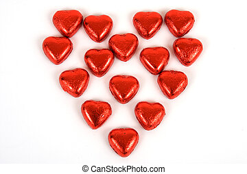 Valentine Heart - Candy valentine hearts against a white...
