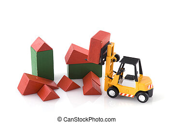 fork-lift truck at toys construction place - fork-lift truck...