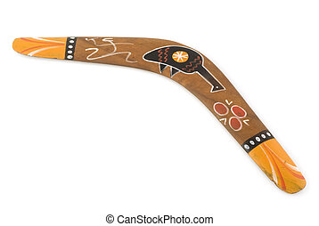 australian boomerang with painted primitive bird