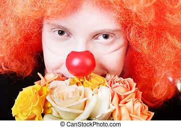 Redhead clown - Humble redhead clown with bunch of roses...